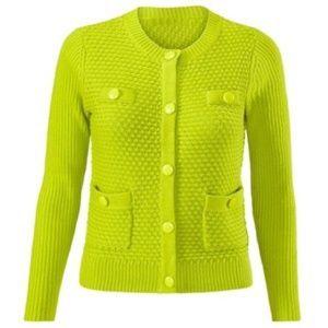 CAbi Loren Sweater Knit Cardigan Chartreuse XL
